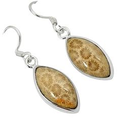 925 silver black fossil coral (agatized) petoskey stone dangle earrings k14312