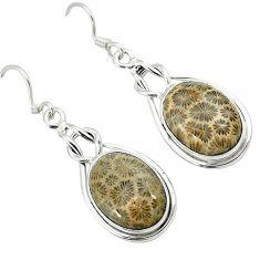 Black fossil coral (agatized) petoskey stone 925 silver dangle earrings k14314