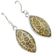 Black fossil coral (agatized) petoskey stone 925 silver dangle earrings k14316