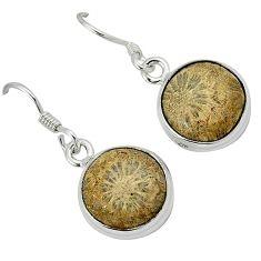 Black fossil coral (agatized) petoskey stone 925 silver dangle earrings k14318