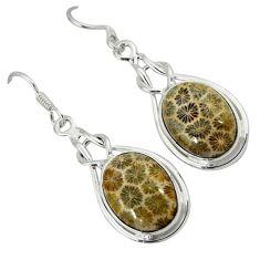 Black fossil coral (agatized) petoskey stone 925 silver dangle earrings k14320