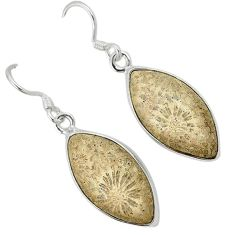 925 silver black fossil coral (agatized) petoskey stone dangle earrings k14340