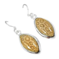 Natural brown fossil coral (agatized) petoskey stone 925 silver earrings k16502