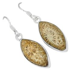 925 silver natural brown fossil coral (agatized) petoskey stone earrings k16503