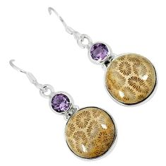 Natural brown fossil coral (agatized) petoskey stone 925 silver earrings k16504