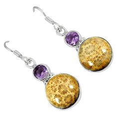 Natural brown fossil coral (agatized) petoskey stone 925 silver earrings k16507