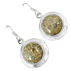 Natural brown fossil coral (agatized) petoskey stone 925 silver earrings k16508