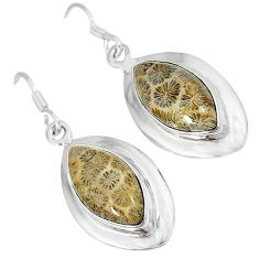 Natural brown fossil coral (agatized) petoskey stone 925 silver earrings k16510