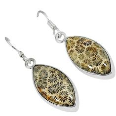Natural brown fossil coral (agatized) petoskey stone 925 silver earrings k16512