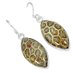 Natural brown fossil coral (agatized) petoskey stone 925 silver earrings k16513