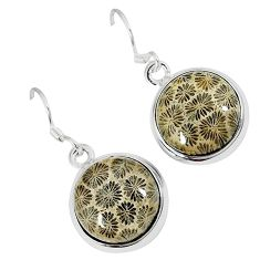 925 silver natural brown fossil coral (agatized) petoskey stone earrings k16515
