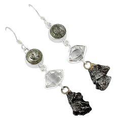 Meteorite campo del cielo herkimer diamond 925 sterling silver earrings k23462