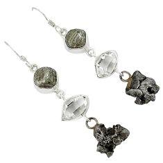 Meteorite campo del cielo herkimer diamond 925 sterling silver earrings k23464