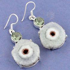 Natural white solar eye purple amethyst 925 silver dangle earrings k23581