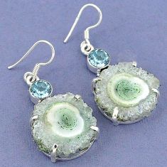 Natural white solar eye blue topaz 925 sterling silver dangle earrings k23582