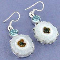 925 sterling silver natural white solar eye blue topaz dangle earrings k23584