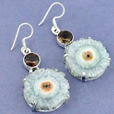 Natural white solar eye fancy smoky topaz 925 silver dangle earrings k23587