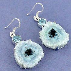 Natural white solar eye blue topaz 925 silver dangle earrings jewelry k23588