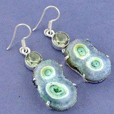 Natural white solar eye amethyst 925 silver dangle earrings jewelry k23590