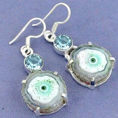 925 sterling silver natural white solar eye topaz dangle earrings k23592