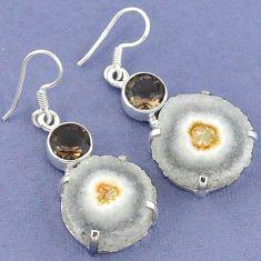 Natural white solar eye smoky topaz 925 silver dangle earrings jewelry k23593