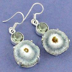 925 silver natural white solar eye amethyst dangle earrings jewelry k23595