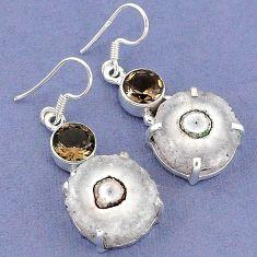 Natural white solar eye smoky topaz 925 silver dangle earrings jewelry k23597