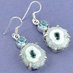 925 sterling silver natural white solar eye topaz dangle earrings jewelry k23598
