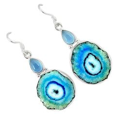 Natural white solar eye chalcedony 925 silver dangle earrings jewelry k23923