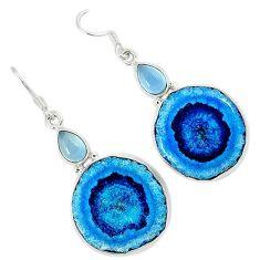 Natural white solar eye chalcedony 925 silver dangle earrings jewelry k23924