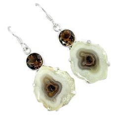 Natural white solar eye smoky topaz 925 sterling silver dangle earrings k23931