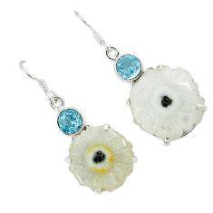 Natural white solar eye topaz 925 silver dangle earrings jewelry k23934