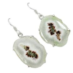 Natural white solar eye 925 sterling silver dangle earrings jewelry k23935