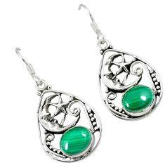 Green malachite (pilot's stone) 925 silver crescent moon star earrings k26236