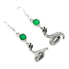 Natural green chalcedony 925 sterling silver anaconda snake earrings k30046