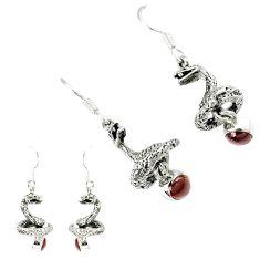 Natural red garnet round 925 sterling silver anaconda snake earrings k30048
