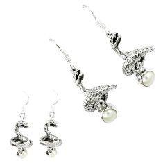 Natural white pearl 925 sterling silver anaconda snake earrings jewelry k30052