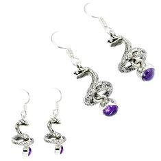 925 sterling silver natural purple amethyst anaconda snake earrings k30053