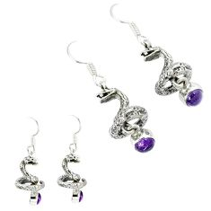 Natural purple amethyst 925 silver anaconda snake earrings jewelry k30054