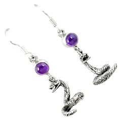 Natural purple amethyst 925 silver anaconda snake earrings jewelry k30056