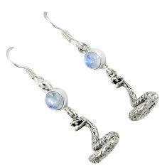 Natural rainbow moonstone 925 silver anaconda snake earrings jewelry k30058