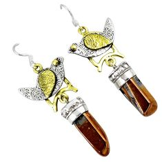 925 silver titanium aura quartz (arkansas) two tone dangle earrings k38750