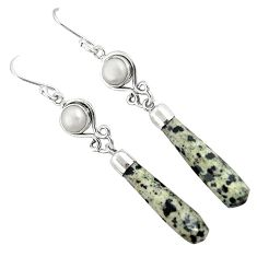 Natural brown dalmatian pearl 925 silver dangle earrings jewelry k39145