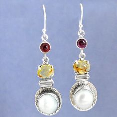 Victorian natural white biwa pearl 925 silver two tone dangle earrings k39346