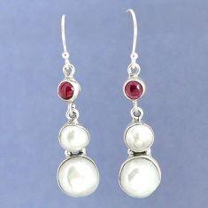 Natural white biwa pearl red garnet 925 silver dangle earrings k39781