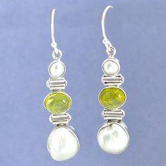 Natural white biwa pearl 925 sterling silver dangle earrings jewelry k39782