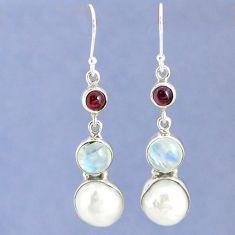 Natural white biwa pearl moonstone 925 silver dangle earrings k39813