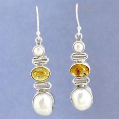 925 sterling silver natural white biwa pearl dangle earrings jewelry k39819