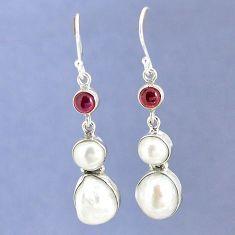 Natural white biwa pearl red garnet 925 silver dangle earrings jewelry k39820