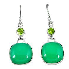 Natural green chrysoprase peridot 925 silver dangle earrings jewelry k41305